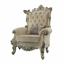38 X 38 X 52 Fabric Antique Pearl Upholstery Poly-resin Accent Chair W/1 P...