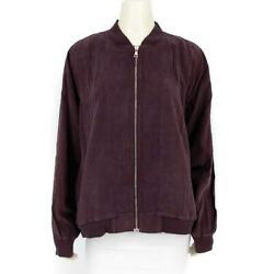Side Stitch Ribbed Side Zip Front Bomber Jacket With Pockets Plum Size L