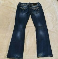 Miss Me Easy Boot Jeans Distressed Sequins Stretch Color - Vtg 52 Size 29 Euc