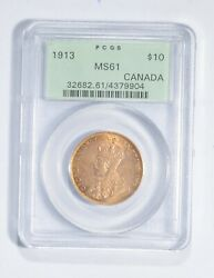 Ms61 1913 Canada 10 Dollars World Gold Coin - Graded Pcgs 2744