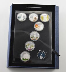 2009 Palau 1 27 Grams Silver Plated Copper - 7 Coin Set - Display And Coa 9462