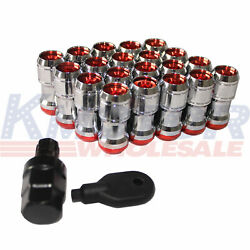 M12x1.5 Red Extended Dust Cap Steel Lug Nuts Wheel Rims Tuner With Lock