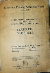 Clearwater Foundry And Machine Works Lewiston Id Flat Rate Schedule Auto Shop 1940