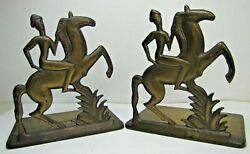 Orig Old Art Deco Stylized Horse Rider Bookends Cast Iron Brass Bronze Wash Mod