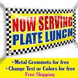 Now Serving Plate Lunch Advertising Vinyl Banner Sign Many Sizes Usa Made Flag