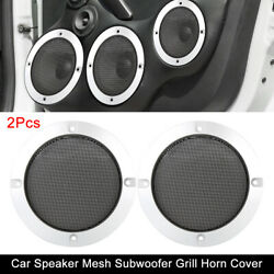 2pcs 4'' Car Speaker Cover Glossy Mesh Subwoofer Grill Horn Guard Silver Tone