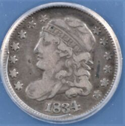 1834 Capped Bust Half Dime Anacs Vf 20 Great Circ Cam Look Quite Pleasing And