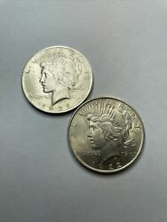 1922 And 1923 Silver Liberty Peace Dollar Uncirculated Strong Variety