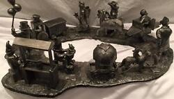 Michael Ricker Pewter Backyard Circus Scene Complete W/base And Certificates