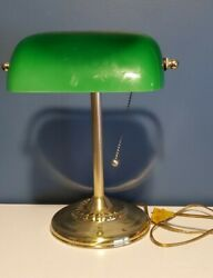 Vintage Bankers Desk Lamp Green Glass Shade Brass Stand Piano Library Art Deco