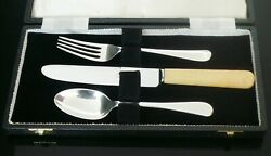 Cased Sterling Silver Christening Set, Cooper Brothers And Sons Ltd Sheffield 1968