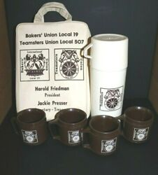 Vtg Aladdin Teamsters Union Thermos With Four Cups And Carry Bag 1970and039s