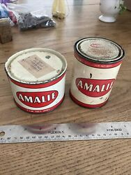 Old Vintage Original Metal Amalie Grease Can Gas And Oil Advertising 1lb Lot Of 2