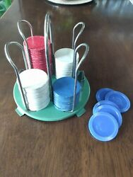 Vintage Pressed Paper Poker Chips/ 5 Plastic With Tray Holder