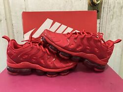 Nike Air Vapormax Plus Triple Red Cw6973-600 Menand039s Size 9 -10.5