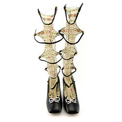 Size 7 Taide Pearlescent Caged Knee High Boots Heels Pumpss Shoes 37.5 Eur