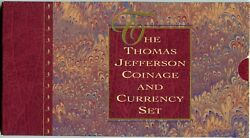 1993 Thomas Jefferson Coinage And Currency Set Silver Dollar, 2 Bill And Nickel
