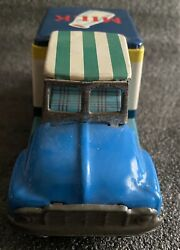 Vintage Japan Tin Litho Friction Fresh Milk Delivery Truck Cow Dairy Rare