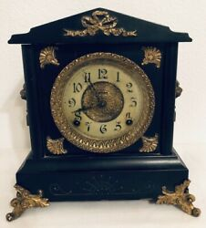 Antique Black And Gold Footed Mantel Clock Lion Heads E. Ingraham Co W/ Key