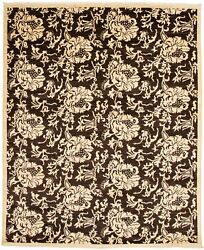 Modern Hand-knotted Carpet 8and0391 X 9and0399 Dark Brown Wool Area Rug