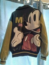 Rare Original Mickey Mouse Since 1928 Genuine Leather Bomber Style Jacket Sizexl