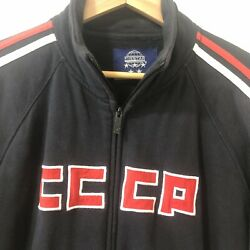 Cccp Menand039s L Black Zip Up Blue Marlin Track Jacket Soviet Union Russian Thick