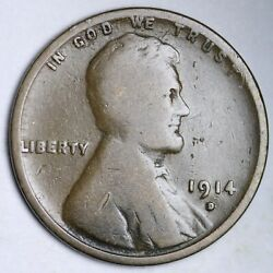 1914-d Lincoln Wheat Small Cent Choice Vg Free Shipping E139 Acnx