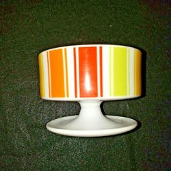 Vtg Porcelain Candy Stripe Sherbet Cups Dishes Set Of 8 Orange Yellow Green Red