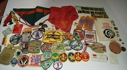 Vintage 70and039s 80and039s Webelos / Boy Scout Cub Lot Patches Belt Slides Pins And More