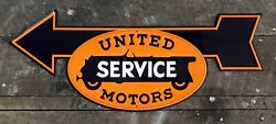 """United Motors Service Sign Directional Arrow Embossed Metal Sign, 9.5"""" X 23"""""""