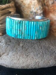 Navajo Pete Sierra Cornrows Turquoise And Sterling Silver Cuff