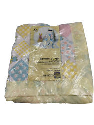 New In Package Vintage Beacon Yellow Bunny Jump Baby Blanket Satin Edge 40x45