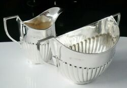 Immaculate Sterling Silver Sugar And Cream Semi Fluted Design London 1904