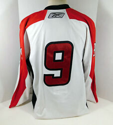 2009-10 Albany River Rats 9 Game Used White Jersey Nameplate Removed 56 Dp08642