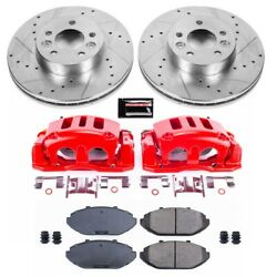 Kc1335 Powerstop Brake Disc And Caliper Kits 2-wheel Set Front New For Town Car