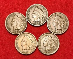 5 Vintage Indian Head Pennies 1 Cent Us Coins Penny Lot 1900s Vf Or Better
