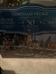 30-piece Christmas Village With Lighted Gazebo And Music New Sealed