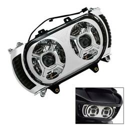 Chrome Front Led Dual Headlight Turn Signal Light For Harley Road Glide 15-19