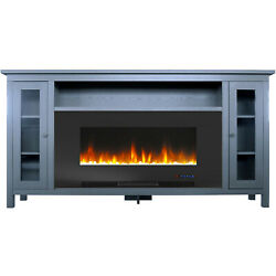 Cambridge Somerset 70-in. Slate Blue Electric Fireplace Tv Stand With Multi-colo