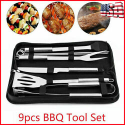 9pcs/set Bbq Tool Set Stainless Steel Barbecue Grill Utensils Kit Accessories