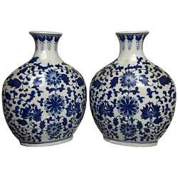 Pair Fine 20th Century Chinese Nanking Style Porcelain Blue And White Flask Vases