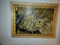 Rare Richard Q. Yardley Pictorial Map Of West Point Usma Military Academy 1932