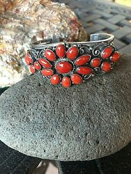 Native American Indian Navajo Lee Bennett Coral And Sterling Silver Cuff