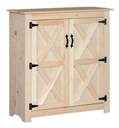 New Amish Unfinished Solid Pine   Two Door Jelly Cabinet   Modern Farmhouse
