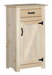 New Amish Unfinished Solid Pine   Jelly Cabinet With Drawer   Modern Farmhouse