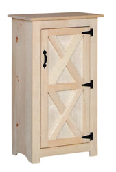 New Amish Unfinished Solid Pine   One Door Jelly Cabinet   Modern Farmhouse