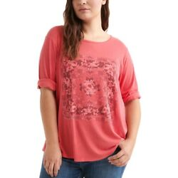 Lucky Brand Plus Size Mosaic Print Top 3/4 Sleeve Red Size 2x New With Tags