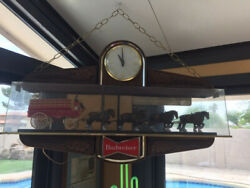 Budweiser Beer | Clydesdale Horses And Dalmations | Bar Light Sign Clock | Vintagn