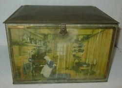 Canco Large Vintage Hinged Tin Box 5 Diff. 19th Century Global Kitchen Scenes