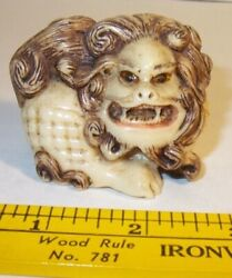 Ancient Antique Hand Carved And Painted Foo Dog Lion Lucky Figurine Statue